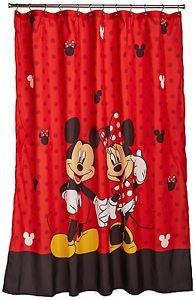 Disney-Mickey-and-Minnie-Fabric-Shower-Curtain-New-Free-Shipping