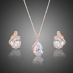 AZORA Rose Gold Color Clear Waterdrop Clear Cubic Zirconia Stud Earrings and Pendant Necklace Jewelry Sets for Women Copper Jewelry, Cute Jewelry, Jewelry Sets, Jewelry Necklaces, Women Jewelry, Jewlery, Rose Gold Earrings, Stud Earrings, Fashion Earrings