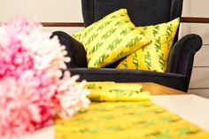 Endless Grasses/ cushion cover & table runner The concept behind endless grasses has come from the Mogao caves. And it is symbolic in portraying longevity , rebirth and vitality. #cushion #tablerunner #oriental #yellow #green #embroidery #chinfea #ss15