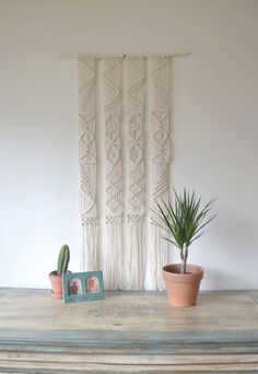 Macrame+wall+hanging+with+natural+cotton+twine+on+a+by+Bohochoco