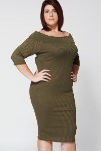 RIBBED OFF THE SHOULDER DRESS IN KHAKI GREEN