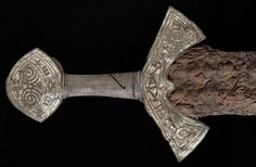 """museum-of-artifacts: """" Viking sword from Langeid. Early century The sword must have belonged to a wealthy man who lived in the late Viking Age. The sword is 94 cm long; although the iron blade has rusted, the handle is well preserved. Viking Life, Viking Art, Viking Woman, Ancient Vikings, Norse Vikings, Alexandre Le Grand, Norway Viking, Viking Tattoos, Norse Mythology"""
