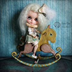 Antique rocking horse  Circus  Y&P PREORDE by cookiedolls on Etsy