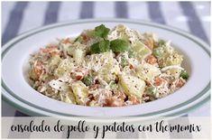 Ensalada de pollo con patatas con thermomix Pollo Guisado, Pasta Salad, Potato Salad, Salads, Potatoes, Rice, Ethnic Recipes, Food, Best Recipes