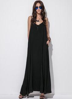 Cotton Solid Sleeveless Maxi Casual Dresses (1039251) @ floryday.com