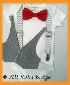 1st Birthday Outfit Boy - Boys First Birthday Outfit - Baby Boy Suspender Outfit - Grey Vest Red Bow Tie Chevron Suspenders