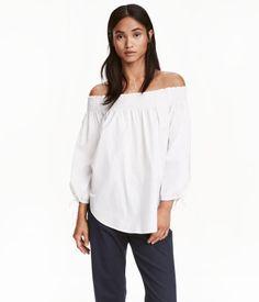 Off-the-shoulder Blouse | White | Ladies | H&M US