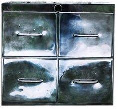 Stalowa szafka kartotekowa z lat 50.