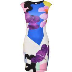 Pinko Park Avenue Dress ($105) ❤ liked on Polyvore featuring dresses, mini dress, sleeveless dress, round neck sleeveless dress, floral mini dress and flower print dress