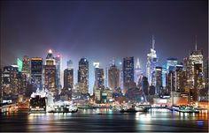 "New York City Skyline Wall Mural Designer Photo Wallpaper""Manhattan Night"""