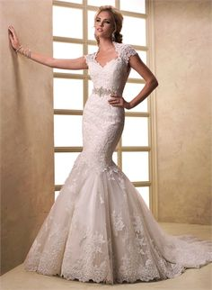 Mermaid Cap Sleeves Beaded Lace Appliqued Open Back Tulle Wedding Dress WD1917 www.tidedresses.co.uk