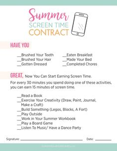 Stop the summer screen time battles and keep your kids from turning into tech zombies with this printable summer screen time contract.