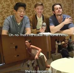 Stalker Rosa :'D | The Scorch Trials cast | Ki Hong Lee, Thomas Sangster, Dylan O'Brien and Rosa Salazar