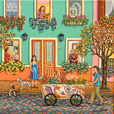 The Plant Salesman by Laura Vidra, 2014 Illustrations, Illustration Art, Puzzle Art, Naive Art, Beautiful Paintings, Sculpture, Collage Art, Home Art, Flower Art