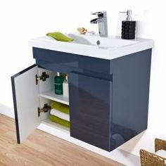 Clever gloss graphite wall mounted vanity unit