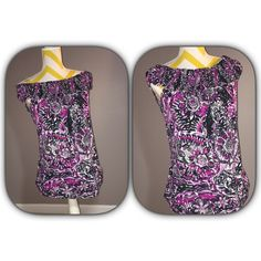 Beautiful Printed Top EUC! Petite medium printed top. Can wear off shoulders or on. Very, very pretty! new directions Tops