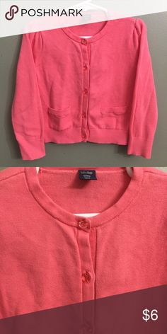 "🎈B2G1🎈VGUC Baby Gap Pink Cardigan, 4T VGUC Baby Gap Pink Cardigan, 4T; VGUC, normal wash wear.🎈This item is eligible for the ""Buy 2 Get 1 Free"" promotion in my closet with a minimum purchase of $15. Free items are to be of equal or lesser in value than the other items. GAP Shirts & Tops"