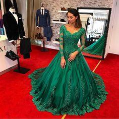 Emerlad Green Ball Gown Prom Dresses 2017 Saudi