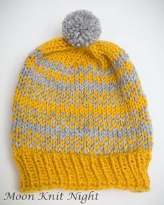 Fair Isle Hat Knit Beanie Stripes Mustard Yellow Light Gray by MoonKnitNight