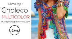 Chaleco o bolero tejido a crochet con forma redonda