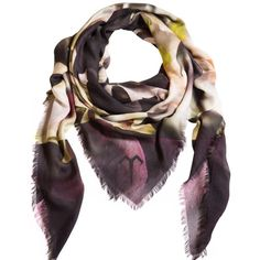 Ternary London - Deep Illusion Luxury Cashmere Scarf featuring polyvore, women's fashion, accessories, scarves, purple scarves, floral scarves, evening shawl, floral print scarves and holiday scarves