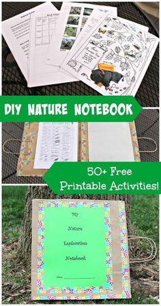 Create a custom nature journal with a paper bag and these AMAZING free printables! Fun way to get kids reading & writing during outdoor adventures! {Full tutorial in post!}