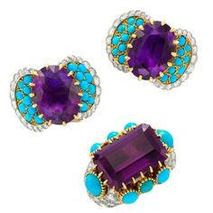 Cartier Amethyst Turquoise Diamond Ring Matching Ear Clips Circa 1950 | From a unique collection of vintage more jewelry at https://www.1stdibs.com/jewelry/more-jewelry-watches/more-jewelry/