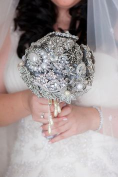 My daughter-in-law's crystal bridal bouquet made by the two of us for her wedding.