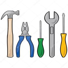 Cartoon illustration of a set of different household tools Construction Theme Classroom, Construction Birthday, Kids Sunday School Lessons, Toddler Class, Fathers Day Crafts, Applique Patterns, Pop Up Cards, Infant Activities, Masculine Cards