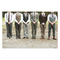 Marriage Attire / Mismatched groomsmen. Mismatched bridesmaids. Short wedding dress. Homemade boutonnieres and bouquets. found on Polyvore  LOVE