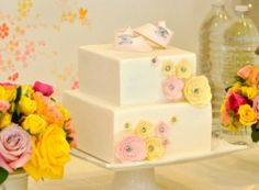 Vintage Pink and Yellow Baby Shower Cake - Project Nursery