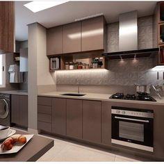 Cozinha linda adoro está cores e este revestimento Projeto Kitchen Room Design, Luxury Kitchen Design, Kitchen Cabinet Design, Kitchen Sets, Luxury Kitchens, Interior Design Kitchen, Home Kitchens, Kitchen Decor, Kitchen Small