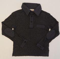 Boys Sierra Julian Gray Dress Shirt Pinstripes Elbow Patches Size 5 #SierraJulian #DressyEverydayHoliday