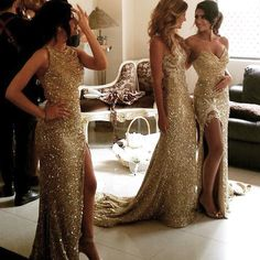 2015 Gold Sequin Bridesmaid Dresses Mermaid Bridesmaid Dresses 5 Styles For Choice Split Skirt Gold Maid of Honor Dresses Custom Made Dress