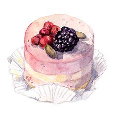 Watercolor painted drawings of sweet cakes