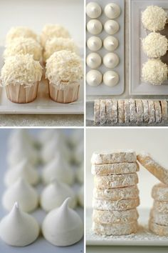 Cute cupcakes and love the simplicity of the meringues and dusted cookies. Lemon Meltaways & Meringue Cookies Recipes :: Cannelle et VanilleCannelle et Vanille Christmas Goodies, Christmas Desserts, Holiday Treats, Christmas Treats, All Things Christmas, White Christmas, Holiday Recipes, Christmas Time, Christmas Decor