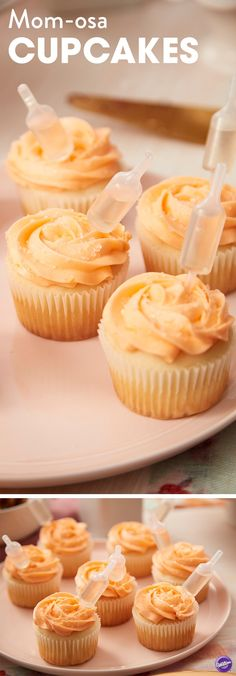 Give a toast to mom on Mother's Day with these mimosa-flavored cupcakes spiked with champagne. A little bubbly goes into the batter, and once iced, the cupcakes are infused with more champagne using Wilton Shot Tops Flavor Infusers. Here& to Mom! Liquor Cupcakes, Flavored Cupcakes, Cupcake Flavors, Cupcake Recipes, Dessert Recipes, Drunken Cupcakes, Alcohol Infused Cupcakes, Alcoholic Cupcakes, Cupcake Ideas