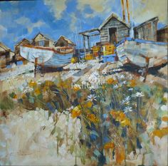 Chris FORSEY-Daisies among Pebbles,  Type: Mixed Media,   Size: 30 x 30 inches