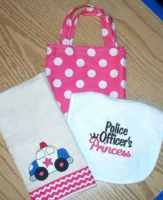 Policeman  Baby Girl Gift Set - Police Officer's Princess Bib / Police Car Burp Cloth and Pink Polka Dot Diaper Tote Bag / Personalized