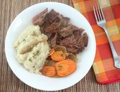 Low Carb Pot Roast with Roasted Garlic Mashed Cauliflower (Gluten Free and Dairy Free) - Living Low Carb One Day At A Time