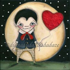 Print of my Folk Art Childrens Halloween Vampire painting  - Forever Love. $10.00, via Etsy.