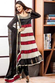 Off white and black net and silk Anarkali suits  http://www.andaazfashion.co.uk/salwar-kameez/anarkali-suits