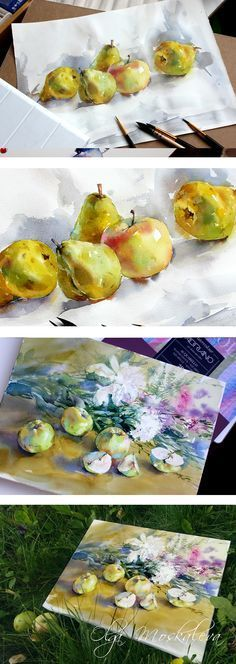 Watercolor still life with apples on Behance