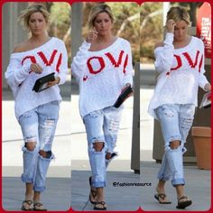 ASHLEY TISDALE dons a white LOVE Brigitte Bailey Justine Sweater & a pair of ripped boyfriend jeans#ashleytisdale #rippedjeans #ripped #rippeddenim #sweater #lovesweater #love #heart #red #white #blue #black #flats #shoes #heels #blonde #denim #jeans #leggins #fashion #style #instastyle #fashionista #styles #styleicon #stylish #instafashion #celebrity #streetfashion #streetstyle... - Celebrity Fashion