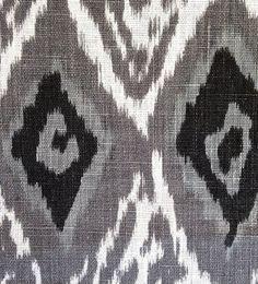 Grey Linen Ikat Fabric by the Yard - Modern Black White Ikat Curtain - Ikat Home Decor - Grey Ikat Pillow Material - Ikat Headboard