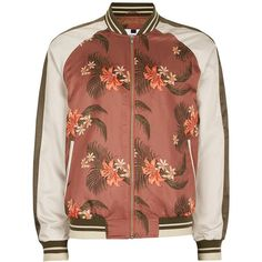 TOPMAN Tropical Stripe Lightweight Bomber Jacket (205 BRL) ❤ liked on Polyvore featuring men's fashion, men's clothing, men's outerwear, men's jackets, brown, mens lightweight summer jackets, mens striped jacket, mens summer jackets, mens bomber jacket and mens brown leather bomber jacket