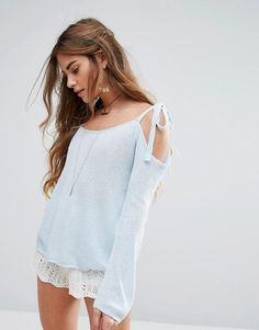 Honey Punch One Sleeve Tie Up Bow Top