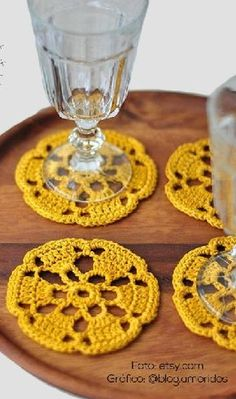 Coasters set of 2 crochet lace mustard yellow door woolnwhiteHandmade set of 2 crocheted coasters. Hand crocheted from cotton; hand washed and starched with great care so it will not lose its shape.need to ask grammie to make these for me!Betcha I co Crochet Coaster Pattern, Crochet Motif, Crochet Designs, Crochet Doilies, Hand Crochet, Crochet Flowers, Knit Crochet, Crochet Patterns, Crochet Tablecloth