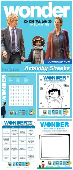 """The """"Wonder"""" book and movie are great for teaching kids all about kindness.  Print these free activity sheets to bring the message home!  AD"""
