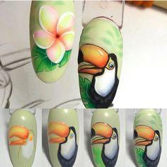 Нет описания фото. Bird Nail Art, Animal Nail Art, Floral Nail Art, Nail Art Diy, Animal Nail Designs, Fruit Nail Designs, Simple Nail Art Designs, Nailart, Nail Drawing